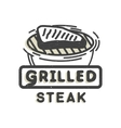 Creative logo design with grilled steak vector image vector image