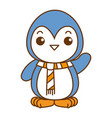cute penguin with christmas scarf kawaii vector image