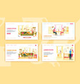 daily home family activities flat lading page set vector image vector image