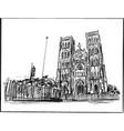 drawing hanoi church in vietnam vector image vector image