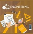 engineering desk view from desk top hand drawing vector image vector image
