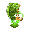 fish figurine made jade isolated on white vector image vector image
