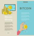 flat bitcoin mining posters set vector image vector image