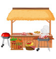 food vendor with bbq grill and different meats vector image vector image
