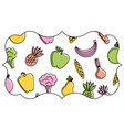 frame with fruits and vegetables pattern vector image vector image