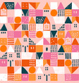 geometric houses and hand drawn textured shapes vector image