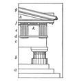 greek doric order post vintage engraving vector image