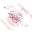 happy valentines day design card with frame vector image