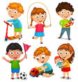 Kids are playing with toys vector image