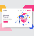 landing page template of content creator concept vector image vector image
