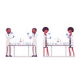 male and female black scientist in chemical vector image