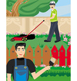 Man paints a fence in the garden vector image vector image