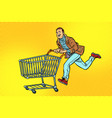 men are on sale shopping cart shop trolley vector image vector image