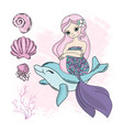 mermaid dolphin cartoon travel tropical ill vector image vector image