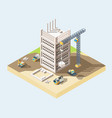 modern house building process isometric 3d vector image