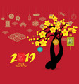 pg chinese new year with blossom and icon element vector image