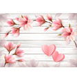 pink flowers and paper hearts on a wooden sign vector image