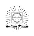 pizza house badge box label with beams vector image vector image