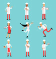 professional kitchen staff characters at work vector image