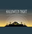 pumpkin on grave background halloween vector image vector image