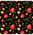 Red Currant floral pattern in Khokhloma style vector image vector image