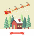 Santa Claus and his reindeer sleigh with winter vector image vector image