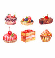 set of cakes watercolor drawing art vector image vector image