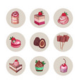 set of delicious sweet desserts made of chocolate vector image