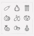 set of dessert icons line style symbols with olive vector image