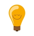 silhouette bulb light on with happy face vector image vector image