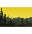 Silhouette of brachiosaurus and spruce vector image vector image