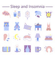 sleep and insomnia flat icons set vector image vector image
