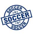 soccer blue round grunge stamp vector image vector image