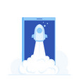 startup rocket start to air from phone screen vector image vector image