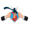 superhero man white shirt background vector image