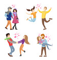 togetherness concept set of young man and woman vector image vector image