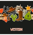 Wild west seamless pattern with cowboy objects and vector image vector image