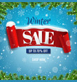 winter sale poster with red ribbon with snow vector image