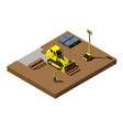 yellow bulldozer at construction site modern vector image