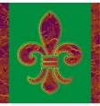 Golden line Fleur-de-lis on a green background vector image