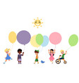 set of happy children playing with balloons vector image
