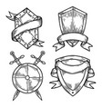 set of isolated medieval shields with ribbons vector image