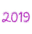 2019 purple particle text isolated on white vector image vector image