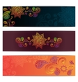 Abstract hand drawn ethnic pattern card set vector image