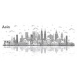 asian landscape outline famous landmarks in asia vector image vector image