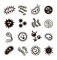 Bacteria superbug virus icons set vector image