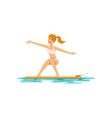 beautiful girl surfing water extreme sport vector image vector image
