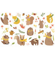 big bundle cute forest animals in scarfs vector image vector image