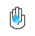 black line hand symbol holding blue water drop vector image