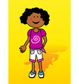 Black little girl over yellow vector image vector image